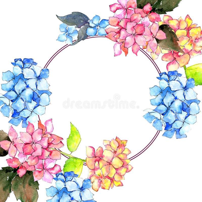 wildflower hydrangea flower wreath in a watercolor style stock rh dreamstime com