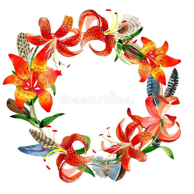 Wildflower lamparta lelui kwiatu wianek w akwarela stylu odizolowywającym ilustracja wektor