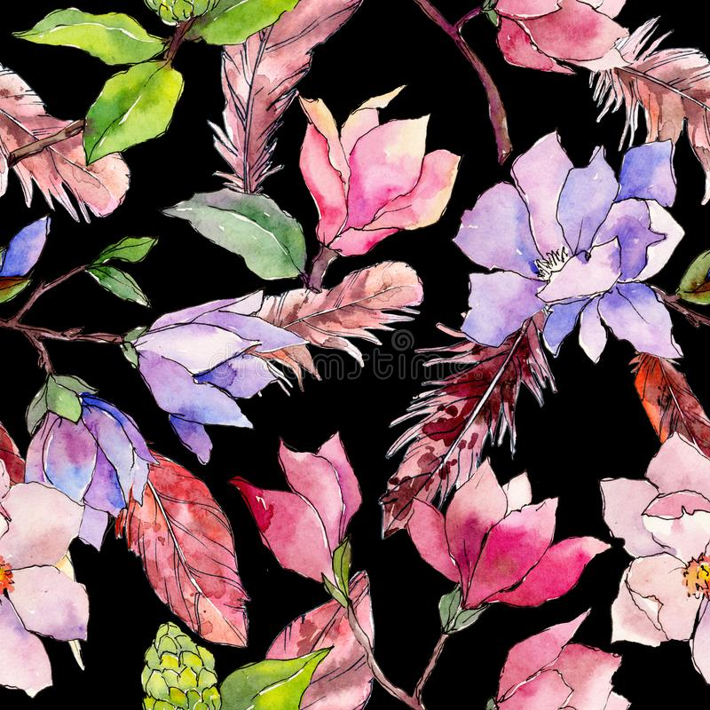 Wildflower magnolia flower pattern in a watercolor style. royalty free illustration