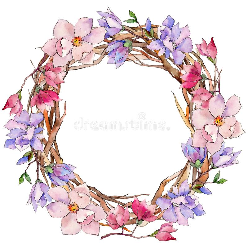 Wildflower magnolia flower wreath in a watercolor style. vector illustration