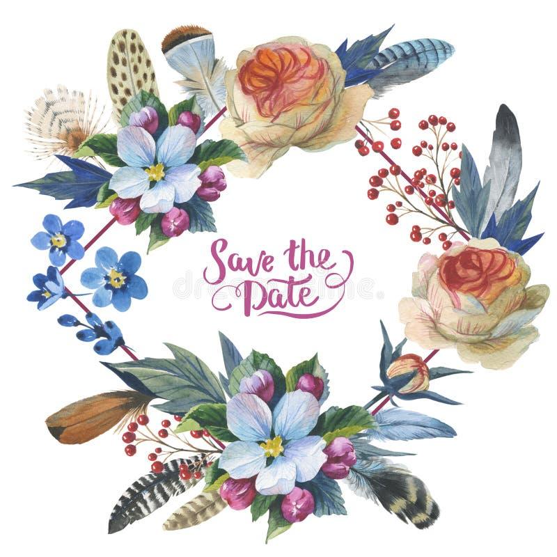 Wildflower nam bloemkader in een geïsoleerde waterverfstijl toe royalty-vrije illustratie