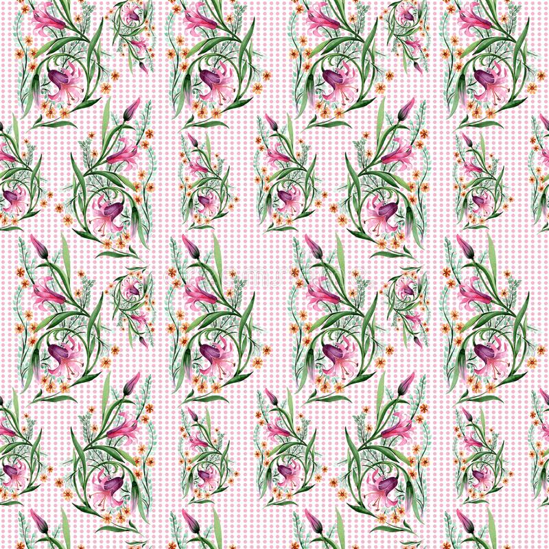 Wildflower ornament flower pattern in a watercolor style. Full name of the plant: lily. Aquarelle wild flower for background, texture, wrapper pattern, frame vector illustration