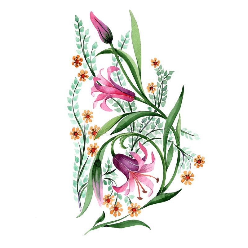 Wildflower ornament flower in a watercolor style isolated. Full name of the plant: lily. Aquarelle wild flower for background, texture, wrapper pattern, frame stock illustration