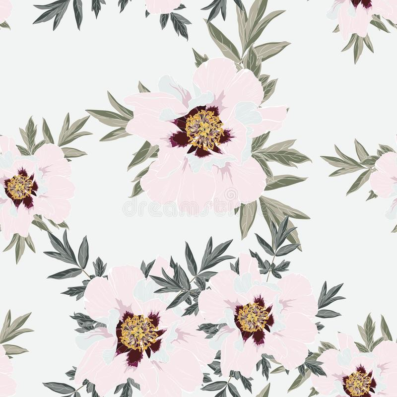 Wildflower peony flower seamless pattern isolated on bright background. stock illustration