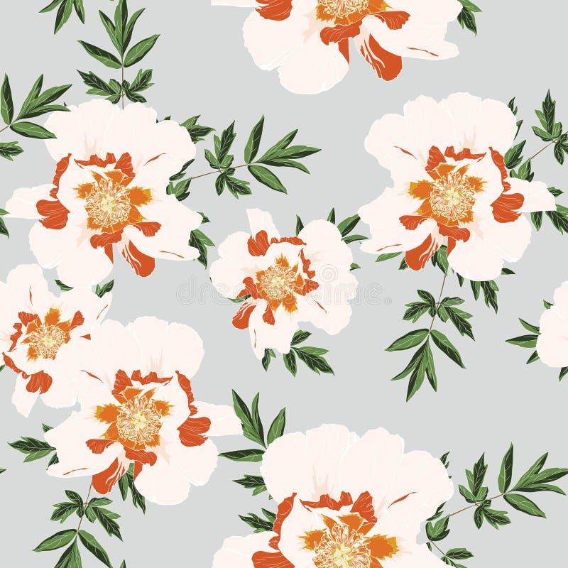 Wildflower peony flower seamless pattern isolated on vintage blue background. stock illustration
