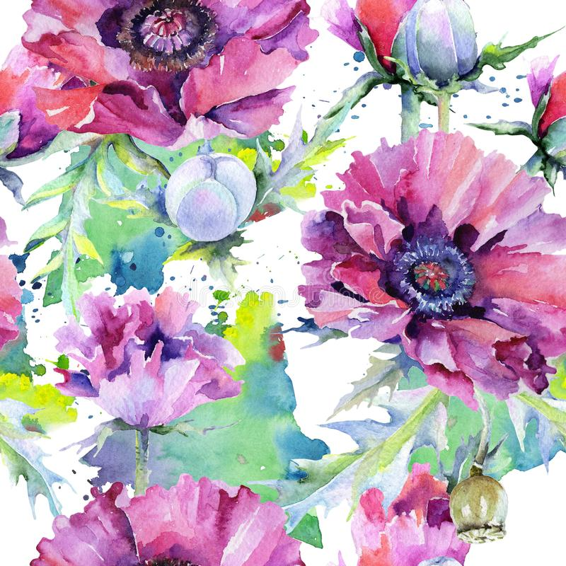 Wildflower poppy flower pattern in a watercolor style. Full name of the plant: poppy, papaver, opium. Aquarelle wild flower for background, texture, wrapper stock illustration