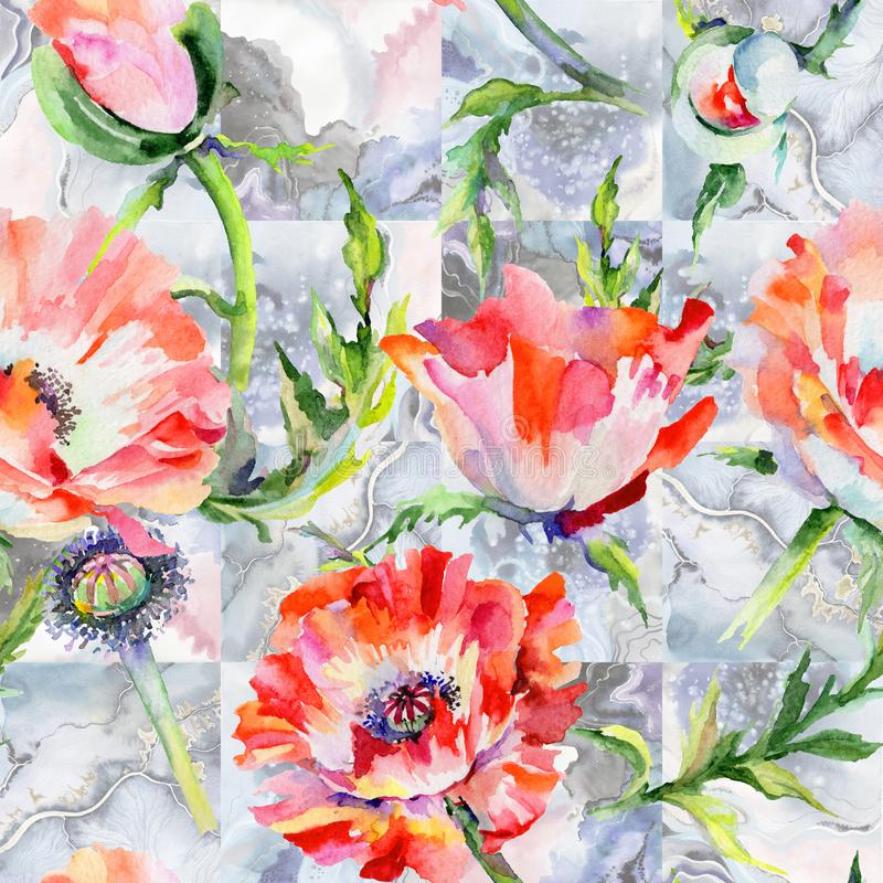 Wildflower poppy flower pattern in a watercolor style. Full name of the plant: red poppy. Aquarelle wild flower for background, texture, wrapper pattern, frame stock illustration