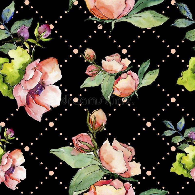 Wildflower rosado del ramo Modelo inconsútil del fondo Textura de la impresión del papel pintado de la tela stock de ilustración