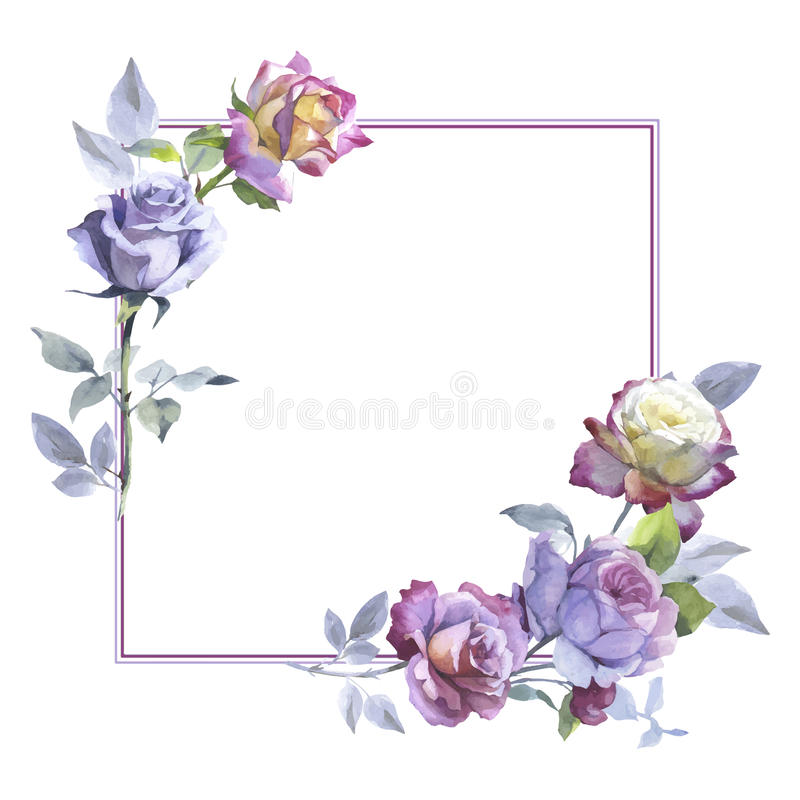 Wildflower rose flower frame in a vector style. Full name of the plant: rose. Aquarelle wild flower for background, texture, wrapper pattern, frame or border stock illustration