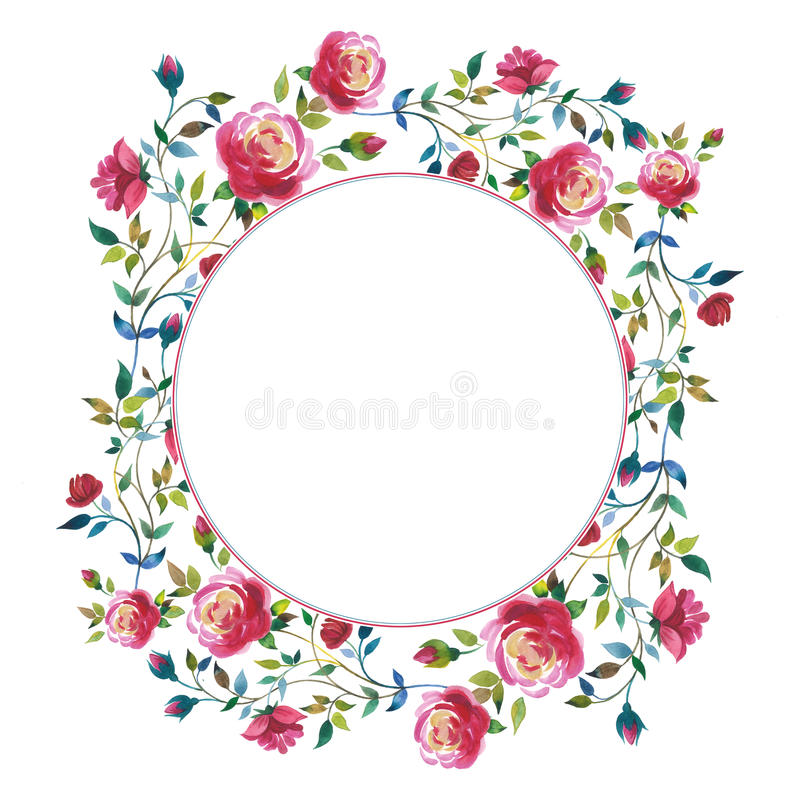Wildflower rose flower wreath in a watercolor style isolated. Full name of the plant: rose, hulthemia, rosa. Aquarelle wild flower for background, texture royalty free illustration