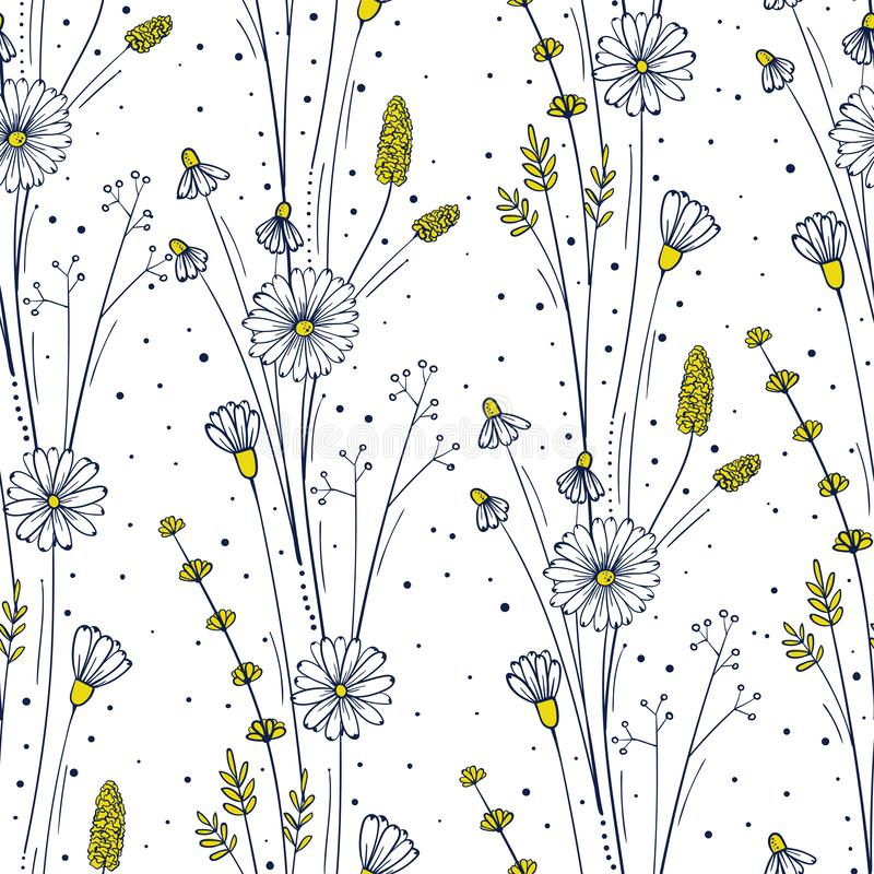 Wildflower seamless pattern. Floral repeat background. Flowers and leaves ornament for fabric. Vector illustation stock illustration