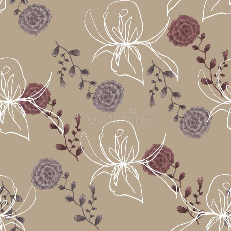 Wildflower y Rose Graphic de la acuarela en un fondo beige libre illustration