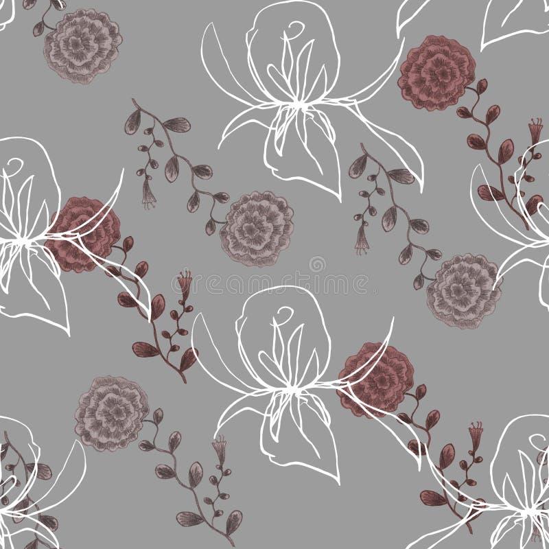 Wildflower y Rose Graphic de la acuarela en un fondo gris libre illustration