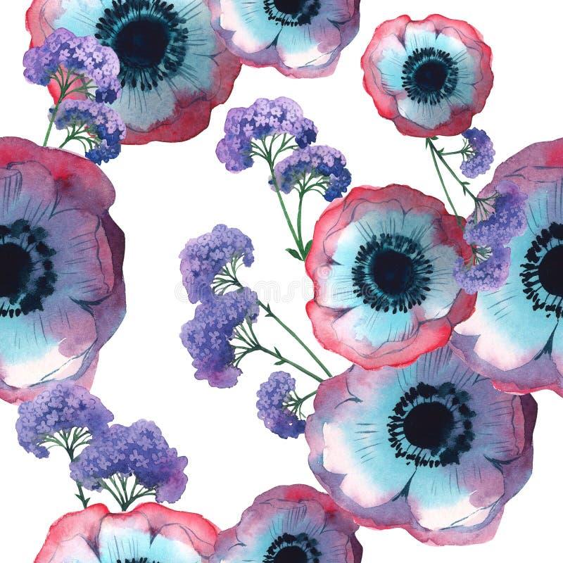 Wildflowermohnblumen-Blumenmuster in einer Aquarellart lokalisiert vektor abbildung