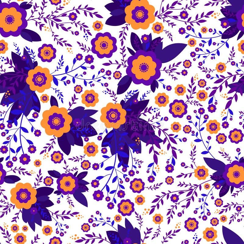Wildflowers abstratos coloridos da laranja, cor violeta, projeto sem emenda do teste padrão da textura Flores e plantas decorativ ilustração stock