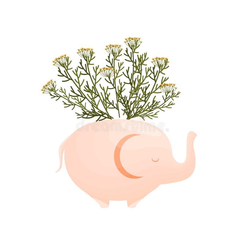 Wildflowers amarelos pequenos em um vaso elefante-dado forma Ilustra??o do vetor no fundo branco ilustração stock