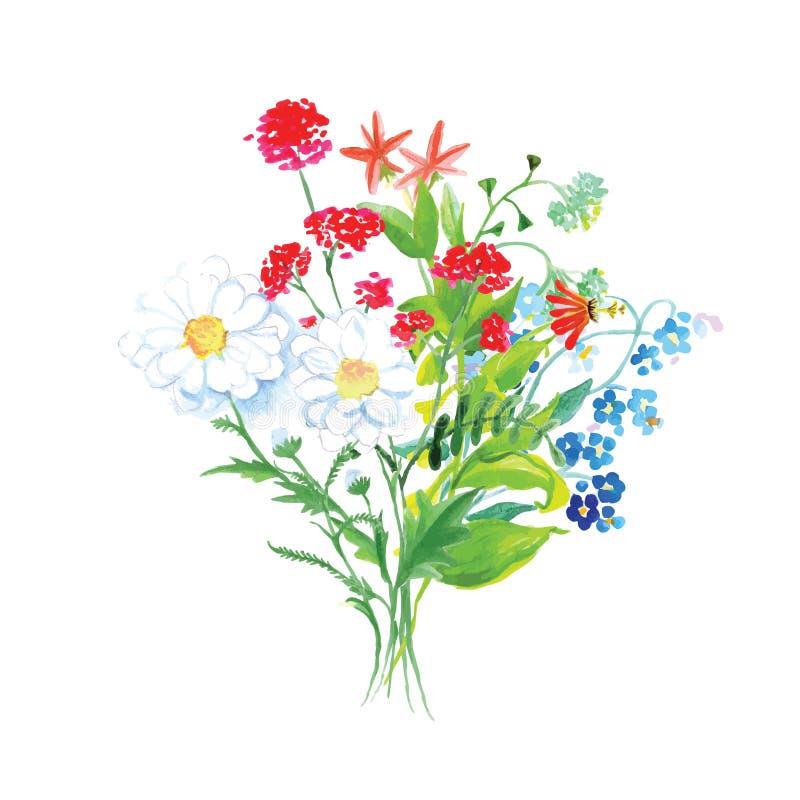 Wildflowers bouquet vector design set stock illustration