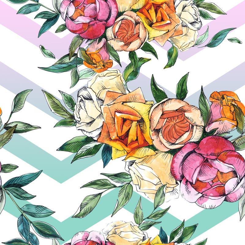 Wildflowers bukieta kwieci?ci botaniczni kwiaty Akwareli t?a ilustracji set Bezszwowy t?o wz?r ilustracja wektor