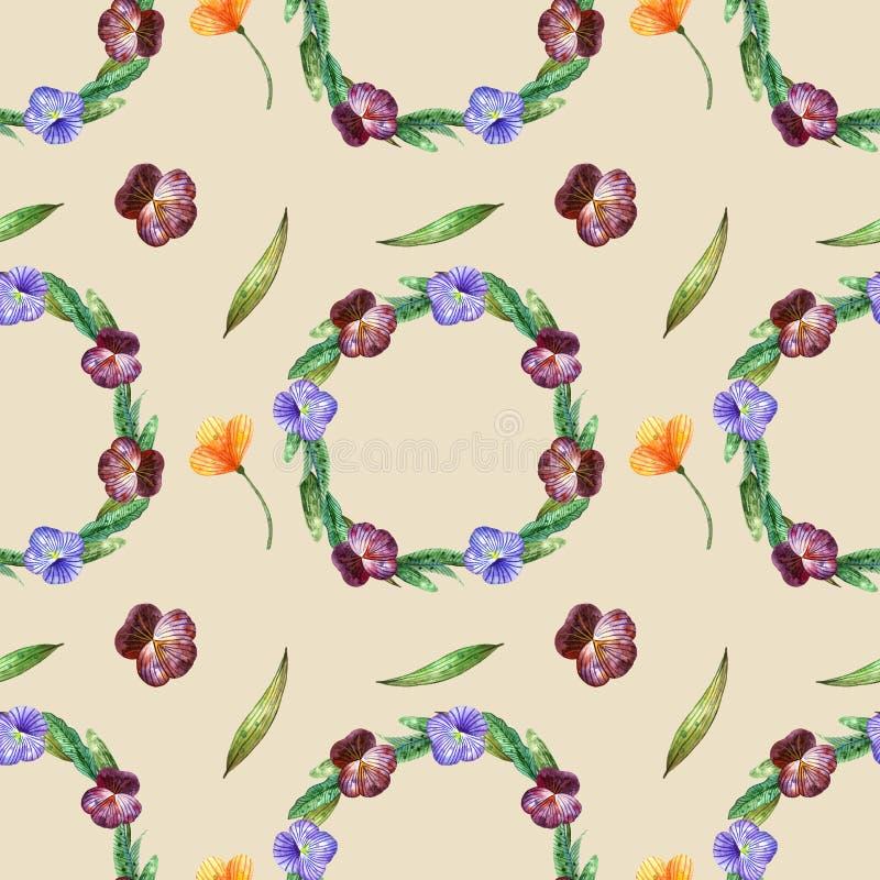 Wildflowers dell'acquerello Modello senza cuciture con le corone delle viole del pensiero ed i fiori arancio su un beige royalty illustrazione gratis