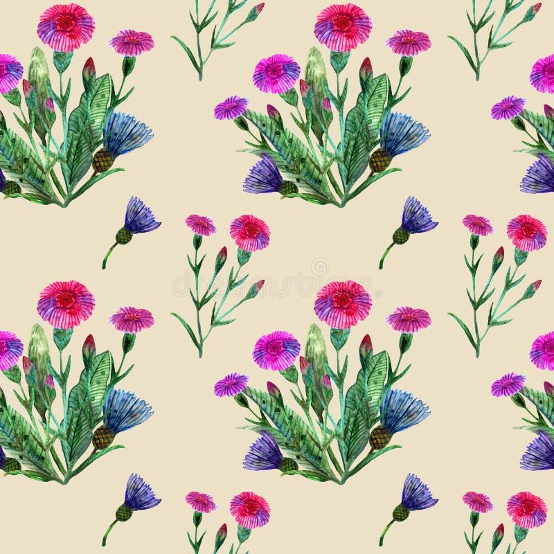 Wildflowers dell'acquerello Modello senza cuciture con un mazzo dei garofani rosa e del beige blu dei fiordalisi illustrazione di stock