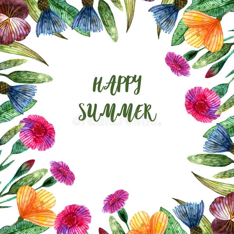 Wildflowers dell'acquerello Struttura quadrata di estate di vari fiori variopinti illustrazione vettoriale