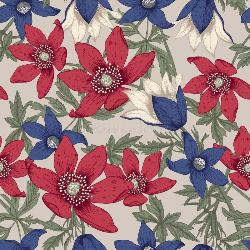 wildflowers Ejemplo del vector en estilo del vintage postal festiva ilustración del vector
