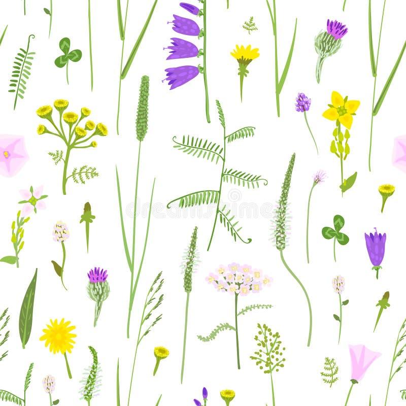 Wildflowers en el estilo ingenuo, modelo inconsútil, eps10 ilustración del vector