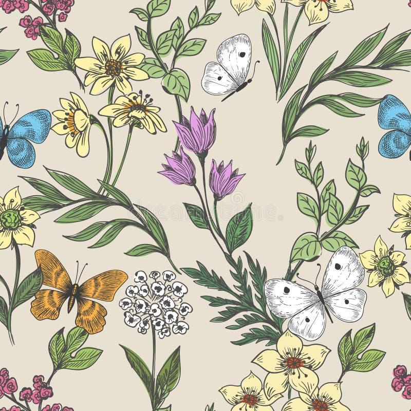 Wildflowers en vlindersachtergrond stock illustratie