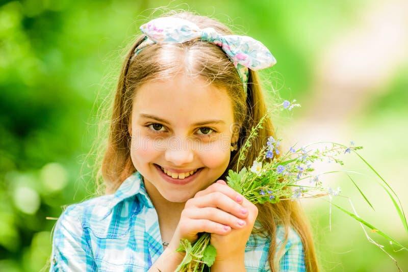 Wildflowers felici della tenuta del bambino Bellezza naturale Felicit? di infanzia Vacanza di estate Ambiente verde bambina e immagine stock libera da diritti