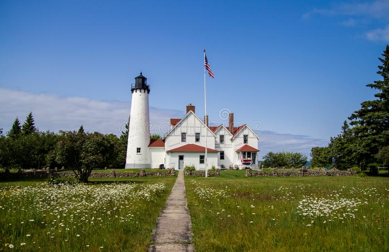 Point Iroquois Lighthouse In Michigan Stock Image - Image of museum, landscape: 76413275