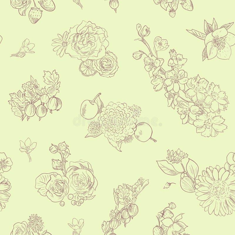 Wildflowers jagod rocznika stylu tła bezszwowa deseniowa ręka rysujący wektorowi ilustracyjni agresty, truskawki ilustracji