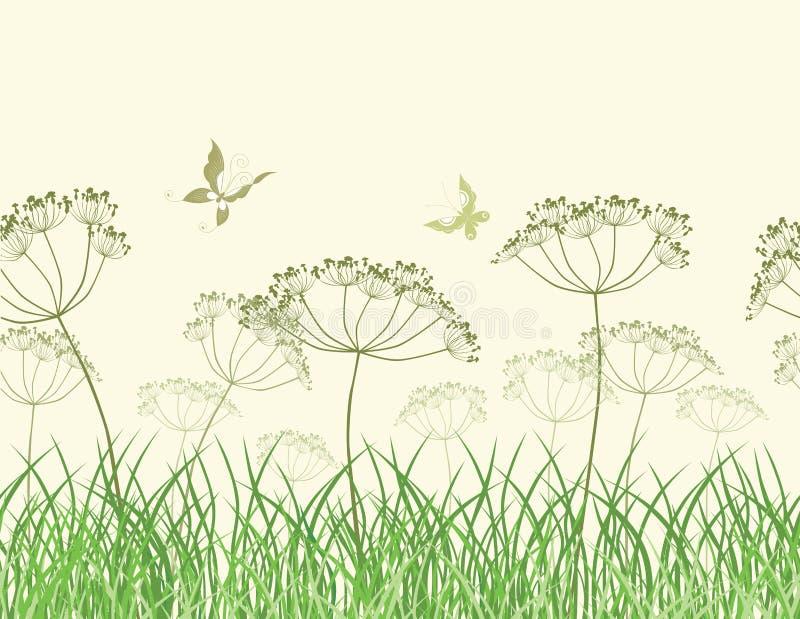 Wildflowers nell'erba royalty illustrazione gratis