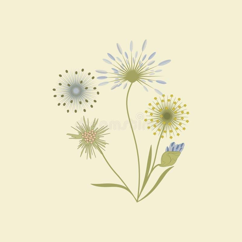 Wildflowers odizolowywający na lekkiej tło sztuki kreatywnie wektorowym elemencie dla projekta ilustracji