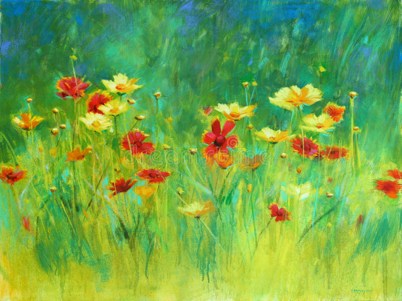 Wildflowers Painting. A vibrant pastel painting of a batch of wildflowers