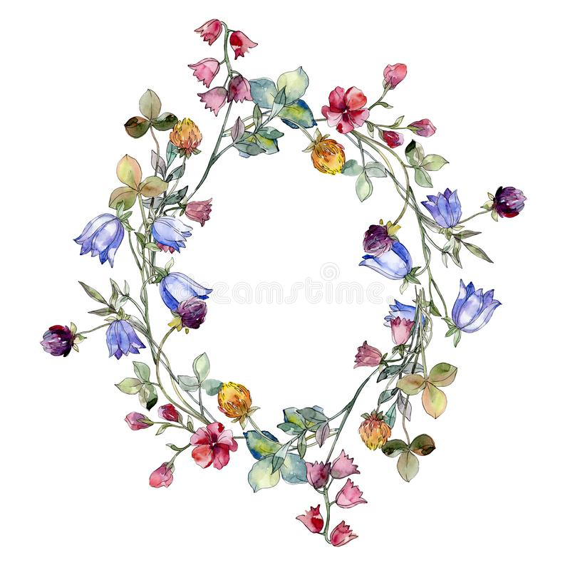Wildflowers print floral botanical flower. Watercolor background illustration set. Frame border ornament square. Wildflowers print floral botanical flower. Wild vector illustration