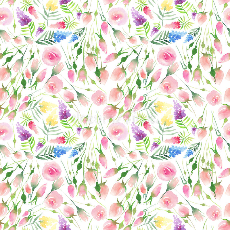 Wildflowers rouges, bleus, pourpres et jaunes de bel été coloré floral élégant mignon sensible de ressort d'Ender et roses roses  illustration de vecteur