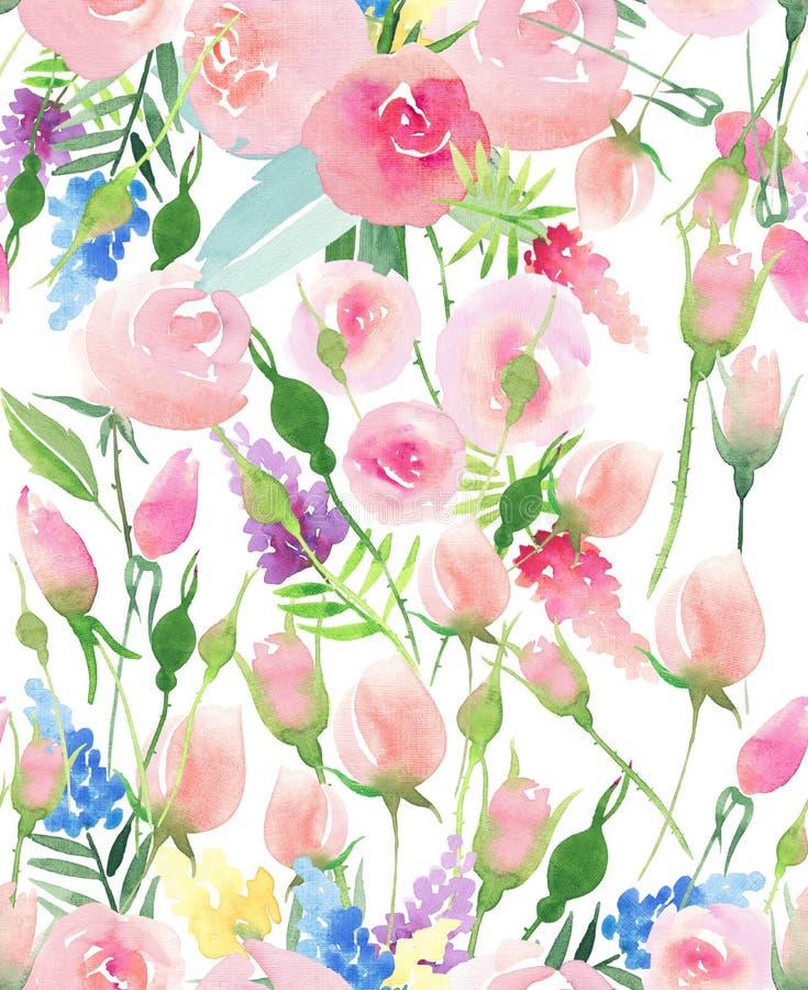 Wildflowers rouges, bleus, pourpres et jaunes de bel été coloré floral élégant mignon sensible tendre de ressort et roses roses a illustration de vecteur