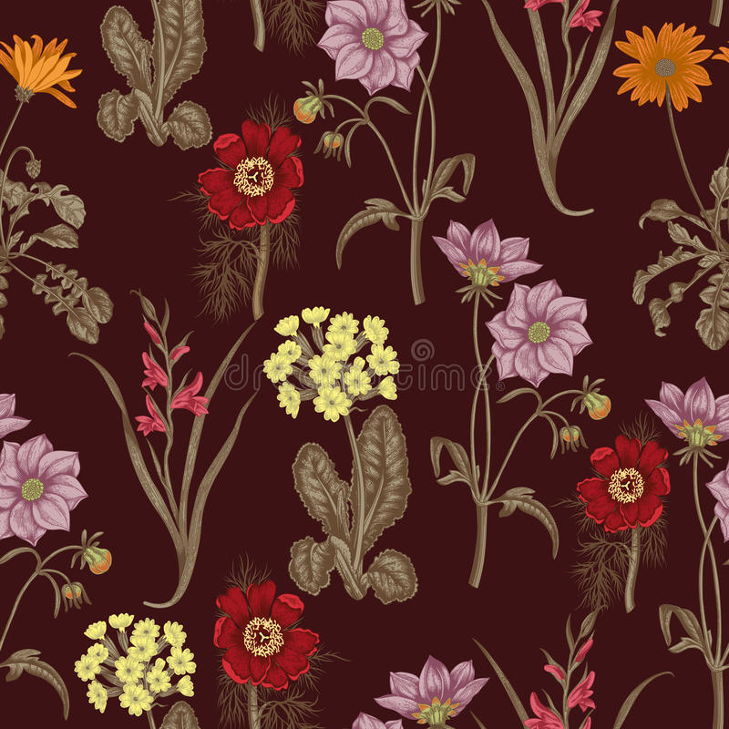 Wildflowers. Seamless vector background. Background for fabric, wallpaper and much more. vector illustration
