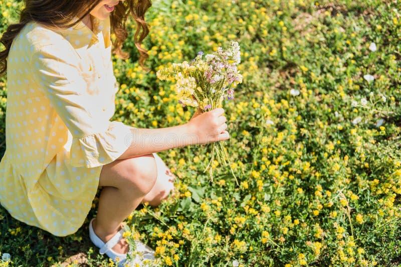 Wildflowers spensierati della riunione della ragazza sul campo immagine stock libera da diritti