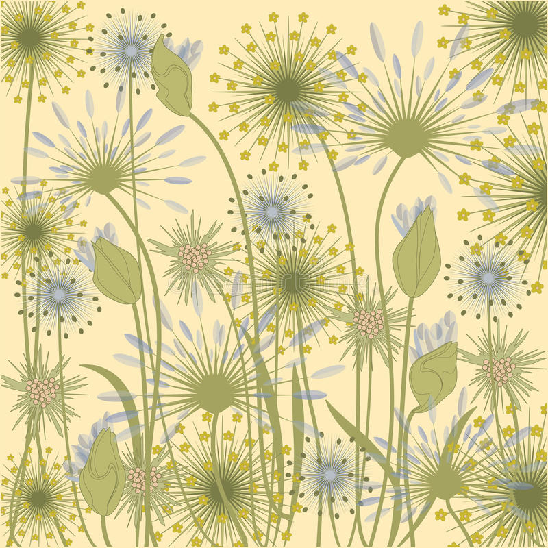 Wildflowers tła mlecznoniebieskiej beżowej sztuki kreatywnie wektor royalty ilustracja