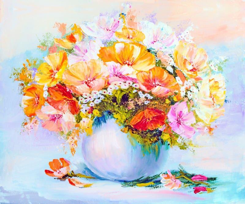 Wildflowers in vaas, olieverfschilderij royalty-vrije illustratie