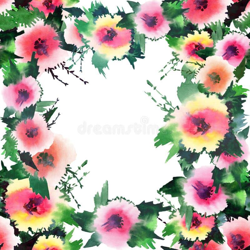 Wildflowers variopinti di bella estate adorabile tenera meravigliosa luminosa della molla con la struttura dei germogli royalty illustrazione gratis