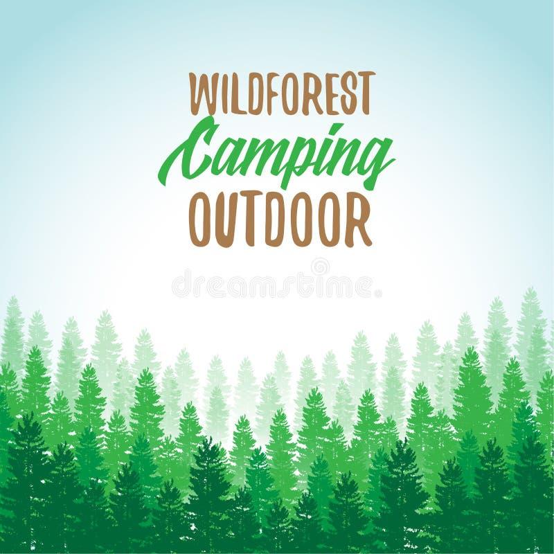 Wildforest campa utomhus- annonsering Landskap av trädkonturn; vektorillustration med grungeeffekt royaltyfri fotografi