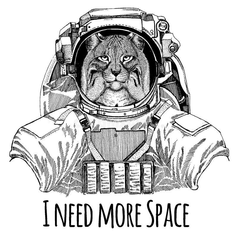 Wildkatze-Luchs Bobcat Trot Astronaut Raumanzug Übergeben Sie gezogenes Bild des Löwes für Tätowierung, T-Shirt, Emblem, Ausweis, stock abbildung