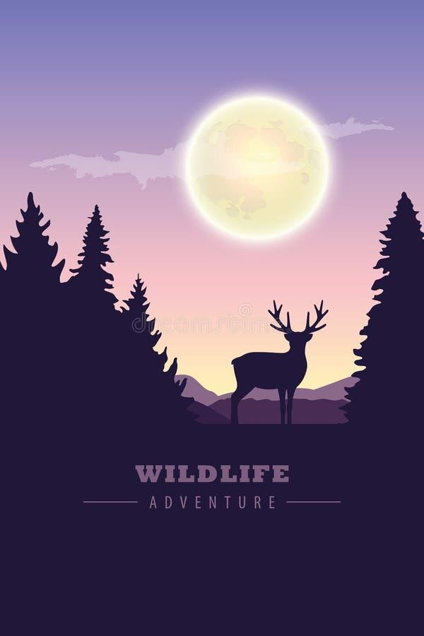 Wildlife adventure elk in the wilderness at night by full moon vector illustration