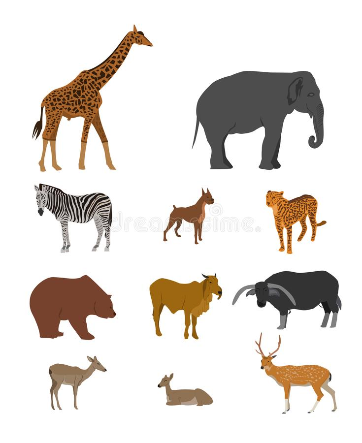 Wildlife Animal collection on white background. Group of animals vector stock illustration