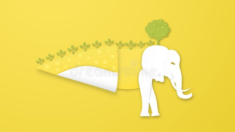 Wildlife animals with manipulation concept. Minimalism deign in paper cut and craft style. Art digitalcraft for world environment royalty free illustration