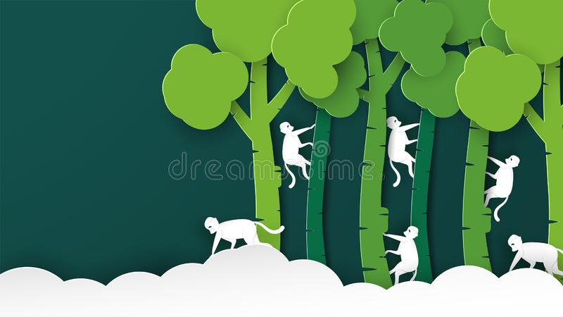 Wildlife animals with manipulation concept. Minimalism deign in paper cut and craft style. Art digitalcraft for world environment. Day, africa, beautiful, cloud stock illustration