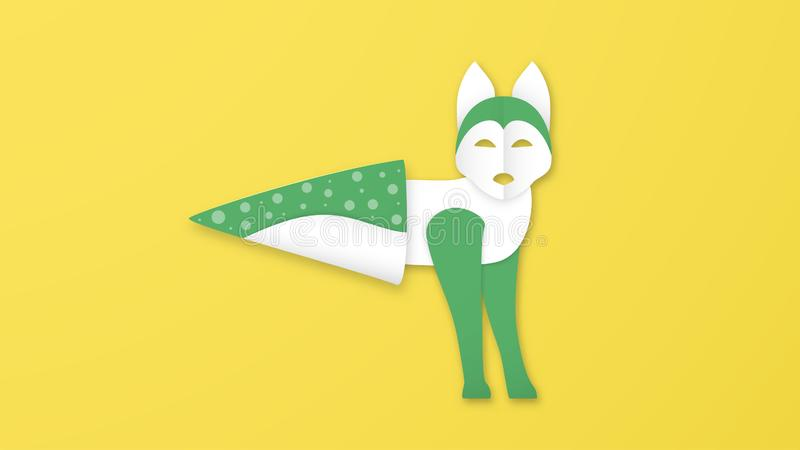 Wildlife animals with manipulation in ice cream concept. Minimalism deign in paper cut and craft style. Art digitalcraft for world royalty free illustration