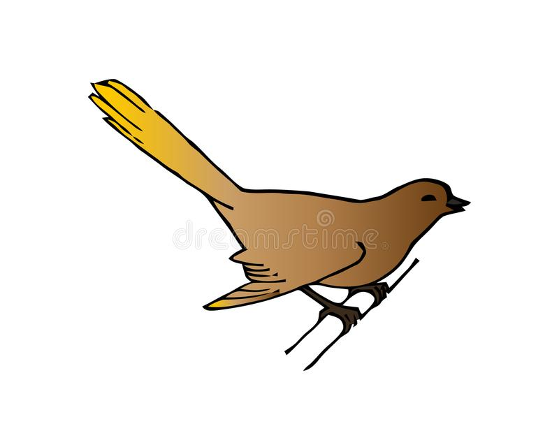 Wildlife and Birds, a garden bird perched on a metal rod on white vector illustration